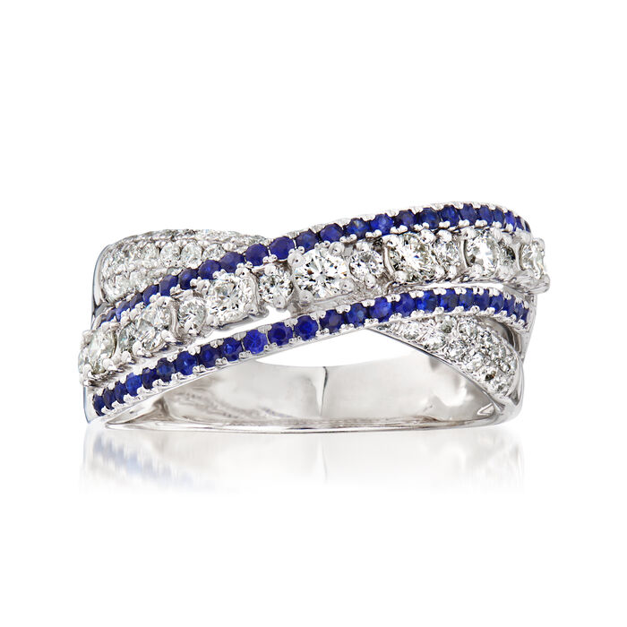 C. 1990 Vintage Piero Milano .88 ct. t.w. Diamond and .70 ct. t.w. Sapphire X Ring in 18kt White Gold. Size 7, , default