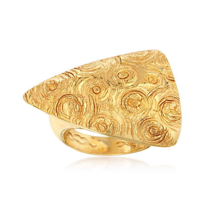 Italian 18kt Yellow Gold Triangle Swirl Ring. Size 6.5, , default