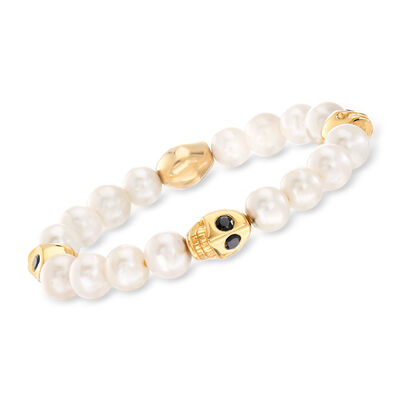 9-10mm Cultured Pearl and 1.80 ct. t.w. Black Spinel Skull Stretch Bracelet in 18kt Gold Over Sterling