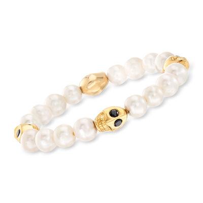 9-10mm Cultured Pearl and 1.80 ct. t.w. Black Spinel Skull Stretch Bracelet in 18kt Gold Over Sterling, , default