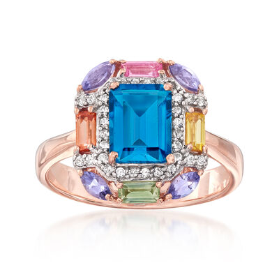 2.00 ct. t.w. Blue Topaz and 1.20 ct. Tot. Gem. wt. Multi-Gem Ring with .20 ct. t.w. White Zircon in 18kt Rose Gold Over Sterling, , default