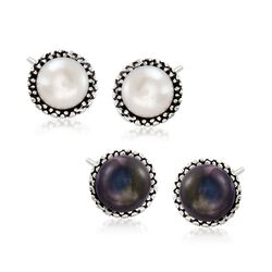 7.5-8mm White and Peacock Cultured Pearl Jewelry Set: Two Pairs of Stud Earrings in Sterling Silver, , default