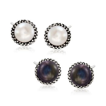 7.5-8mm White and Peacock Cultured Pearl Jewelry Set: Two Pairs of Stud Earrings in Sterling Silver , , default