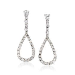Gregg Ruth .70 ct. t.w. Diamond Open Teardrop Earrings in 18kt White Gold, , default