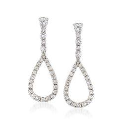 Gregg Ruth .70 ct. t.w. Diamond Open Teardrop Earrings in 18kt White Gold, , default