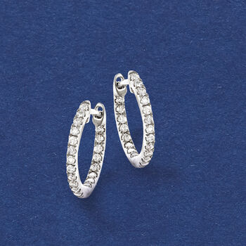 """.20 ct. t.w. Diamond Inside-Outside Huggie Hoop Earrings in 14kt White Gold. 3/8"""""""
