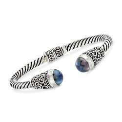 Balinese 10-10.5mm Black Cultured Pearl Cuff Bracelet in Sterling Silver, , default