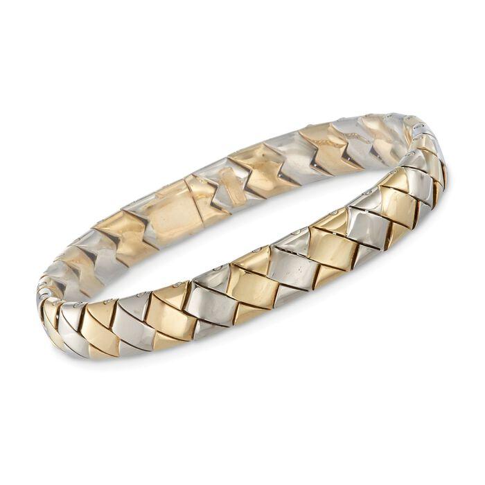 """Italian 18kt Two-Tone Gold Woven-Look Link Bracelet. 7.75"""", , default"""