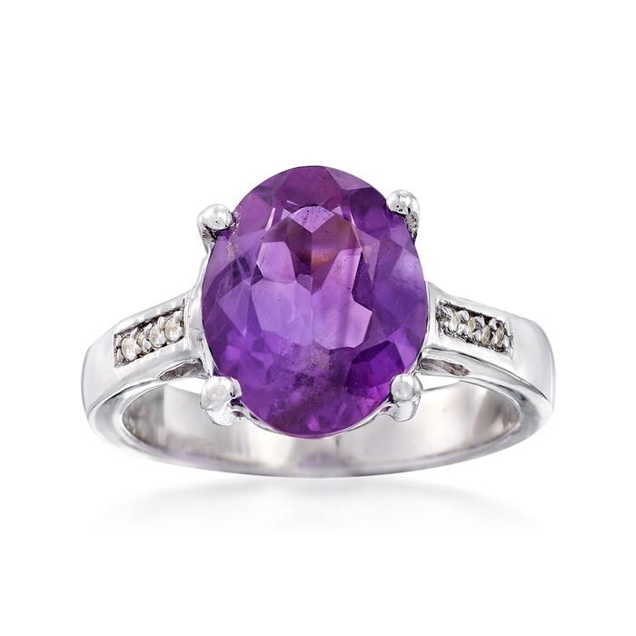 3.60 Carat Amethyst Ring with White Topaz Accents in Sterling Silver