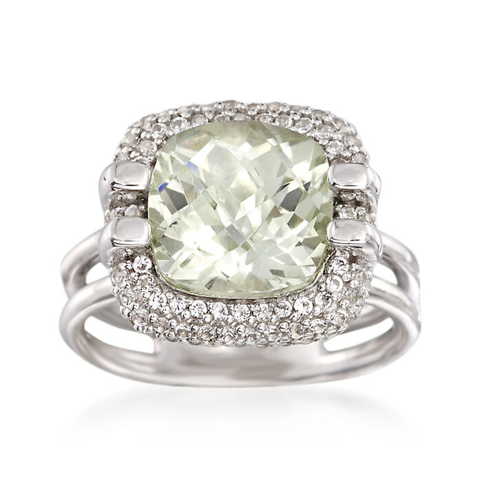 4.00 Carat Green Prasiolite and .90 ct. t.w. White Topaz Ring in Sterling Silver, , default