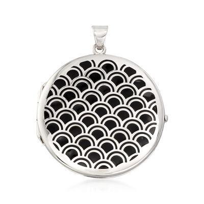 Italian Sterling Silver Scalloped Locket Pendant With Black Enamel, , default