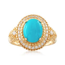 Turquoise and .26 ct. t.w. Diamond Ring in 14kt Yellow Gold, , default