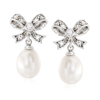 8-9mm Cultured Pearl and .30 ct. t.w. White Topaz Bow Drop Earrings in Sterling Silver