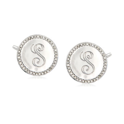 .20 ct. t.w. Diamond Single Initial Disc Earrings in Sterling Silver, , default