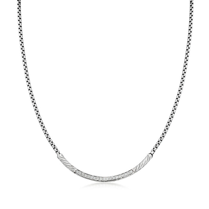 """ALOR """"Classique"""" .16 ct. t.w. Diamond Stainless Steel Necklace with 14kt White Gold"""