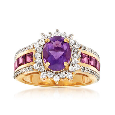 1.90 Carat Amethyst and 1.50 ct. t.w. Multi-Gem Ring in 18kt Gold Over Sterling