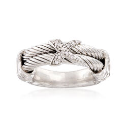 "Phillip Gavriel ""Italian Cable"" Sterling Silver Ring With Diamond Accents, , default"