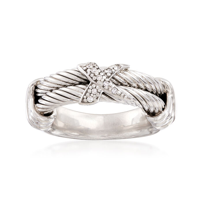 """Phillip Gavriel """"Italian Cable"""" Sterling Silver Ring with Diamond Accents. Size 7, , default"""