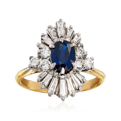 C. 1970 Vintage 1.00 Carat Sapphire and 1.00 ct. t.w. Diamond Ring in 18kt Yellow Gold