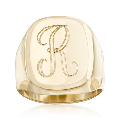 14kt Yellow Gold Single Initial Signet Ring, , default