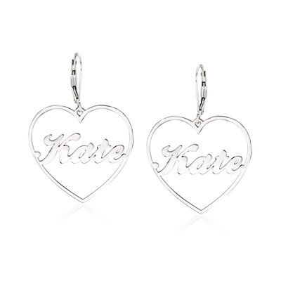 Sterling Silver Personalized Name Heart Drop Earrings
