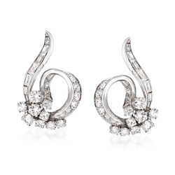 C. 1950 Vintage 2.40 ct. t.w. Diamond Swirl Clip-On Earrings in Platinum , , default