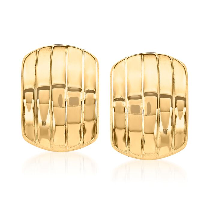 14kt Yellow Gold Curved Five-Row Clip-On Earrings