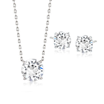 Jewelry Set: White Swarovski Crystal  Necklace and Earrings in Sterling Silver, , default