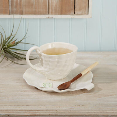 """Breezy Afternoon"" Porcelain Shell Teacup and Plate Set, , default"