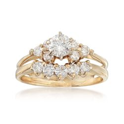 C. 2000 Vintage 1.13 ct. t.w. Diamond Bridal Set: Engagement and Wedding Rings in 14kt Yellow Gold, , default