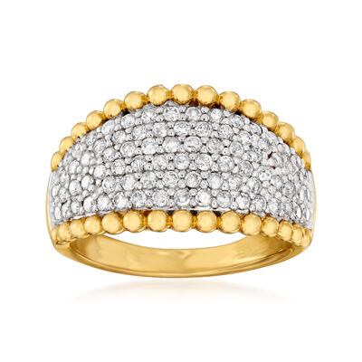 1.00 ct. t.w. Diamond Beaded Ring in 18kt Gold Over Sterling