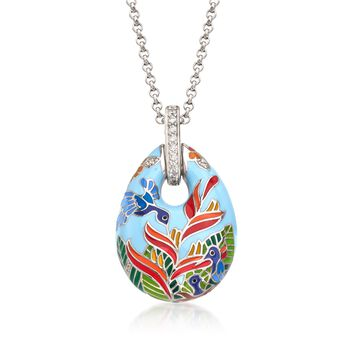 """Belle Etoile """"Hummingbird"""" Multicolored Enamel and .28 ct. t.w. CZ Pendant in Sterling Silver, , default"""