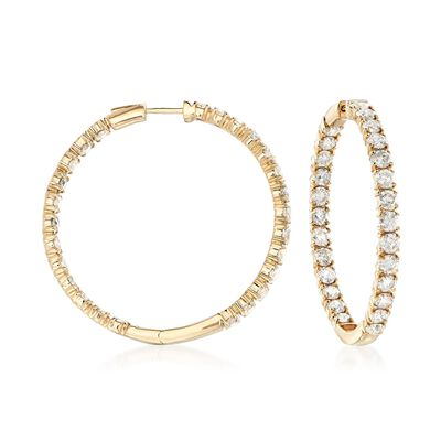 10.00 ct. t.w. Diamond Inside-Outside Hoop Earrings in 14kt Yellow Gold