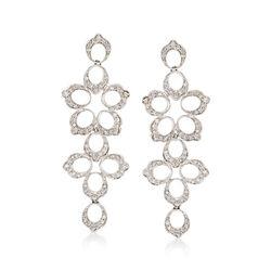 C. 1990 Vintage 1.35 ct. t.w. Diamond Floral Open-Space Drop Earrings in 18kt White Gold , , default