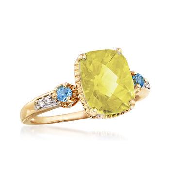 3.00 ct. t.w. Lemon Quartz and Blue Topaz Ring in 14kt Yellow Gold