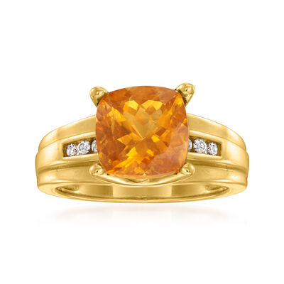 C. 1980 Vintage 2.80 Carat Citrine and .10 ct. t.w. Diamond Ring in 14kt Yellow Gold