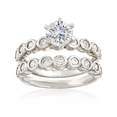 1.90 ct. t.w. CZ Bridal Set: Engagement and Wedding Rings in Sterling Silver, , default