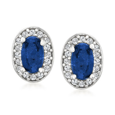 .40 ct. t.w. Sapphire and .12 ct. t.w. Diamond Earrings in Sterling Silver