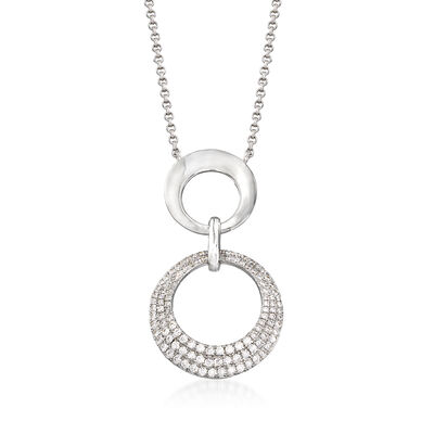 .50 ct. t.w. CZ Interlocking Circle Drop Necklace in Sterling Silver, , default