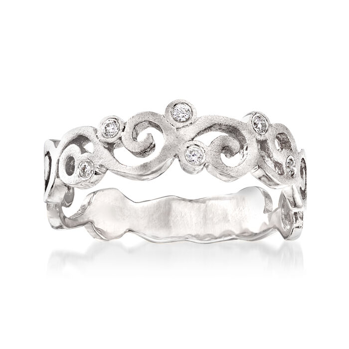 14kt White Gold Spiral Ring with Diamond Accents