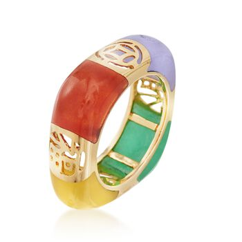Multicolored Jade and Cutout Symbol Ring in 14kt Yellow Gold. Size 9, , default