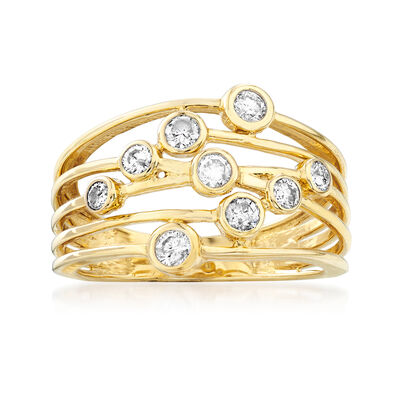 .50 ct. t.w. Diamond Bezel-Set Multi-Row Ring in 14kt Yellow Gold