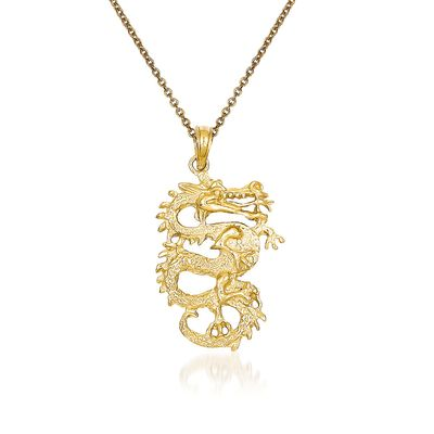 14kt Yellow Gold Dragon Pendant Necklace, , default