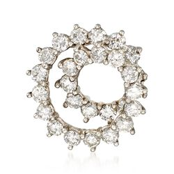 C. 1970 Vintage Tiffany Jewelry 2.50 ct. t.w. Diamond Spiral Circle Pin in Platinum, , default