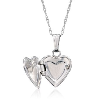 "Baby's 14kt White Gold Heart Locket Necklace. 13"", , default"