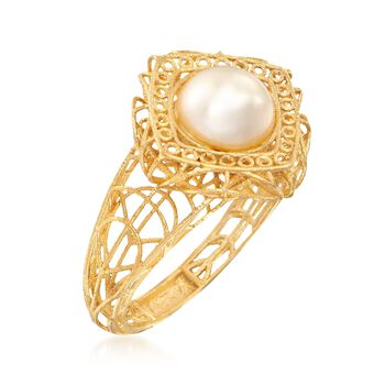 Italian 8mm Cultured Pearl Openwork Ring in 18kt Gold Over Sterling, , default