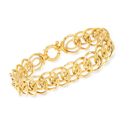 Italian 18kt Yellow Gold Multi-Circle Link Bracelet, , default