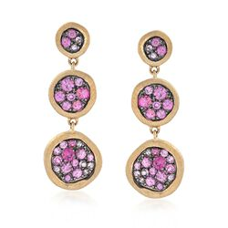 .82 ct. t.w. Pink Sapphire Drop Earrings in 14kt Yellow Gold, , default