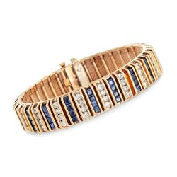 "C. 1960 Vintage 7.60 ct. t.w. Sapphire and 4.50 ct. t.w. Diamond Bracelet in 14kt Yellow Gold. 6.5"", , default"