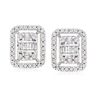 .50 ct. t.w. Baguette and Round Diamond Earrings in 14kt White Gold